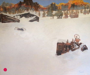 tractor & barn painting Sold